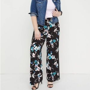 Lane Bryant Floral Pull-on Crepe Wide Leg Pants